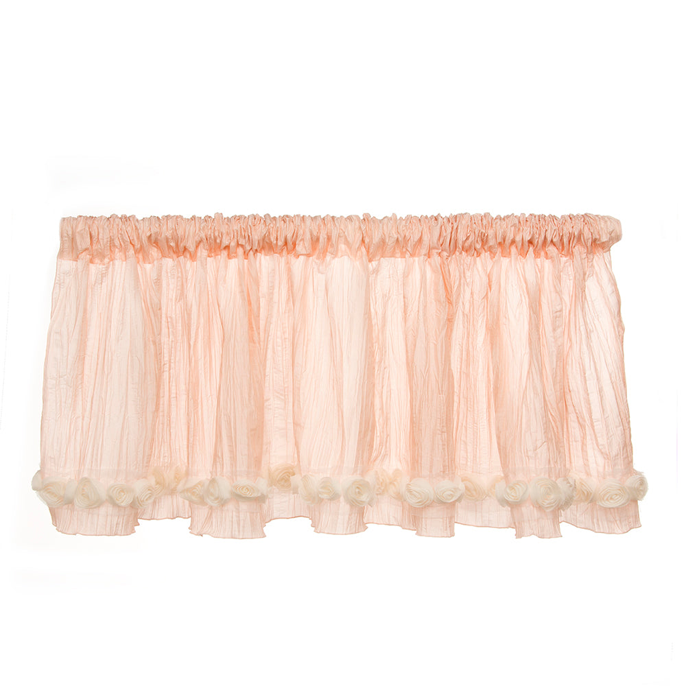 Contessa Window Valance (Pink Crinkle with Roses) (Approximately 96x21