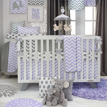 Load image into Gallery viewer, SWIZZLE PURPLE 4 PIECE SET (INCLUDES A QUILT, CRIB SKIRT AND GREY DOT FITTED SHEET AND BUMPER) - Shop Baby Slings & wraps, Baby Bedding & Home Decor !