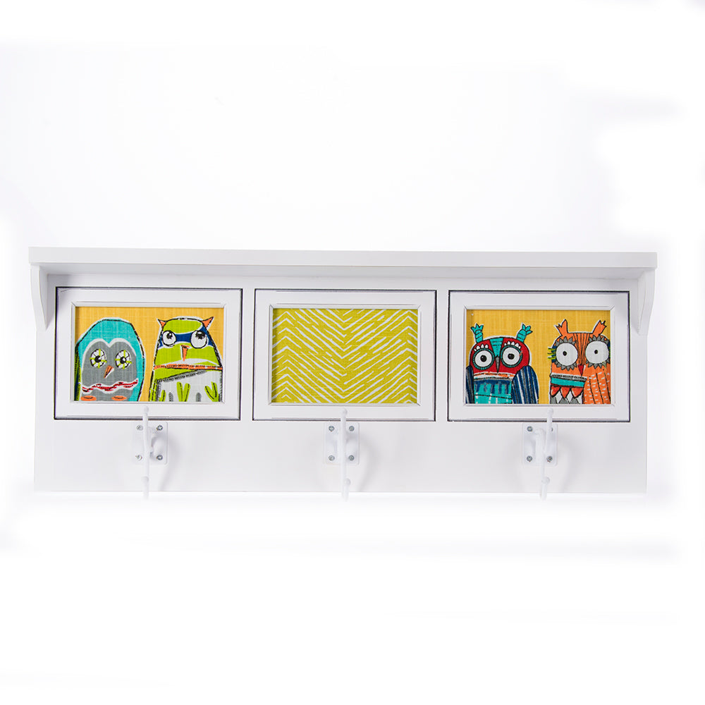 Lil Hoot White Photo Hanger Shelf (4Dx23.5Wx9