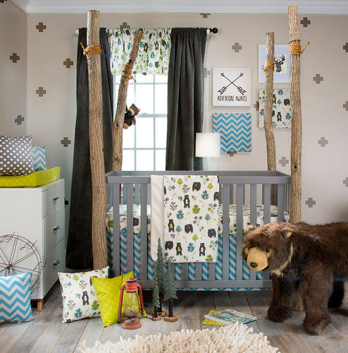 NORTH COUNTRY 3PC SET (INCLUDES QUILT, BEAR PRINT SHEET, CRIB SKIRT) - Shop Baby Slings & wraps, Baby Bedding & Home Decor !