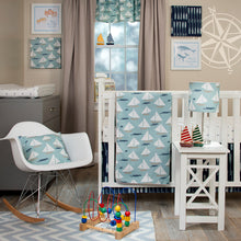 Load image into Gallery viewer, LITTLE SAIL BOAT 3PC SET (INCLUDES QUILT, ANCHOR PRINT SHEET, CRIB SKIRT) - Shop Baby Slings & wraps, Baby Bedding & Home Decor !