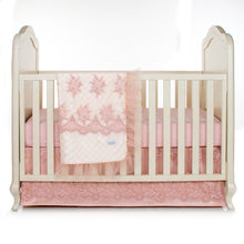 "Load image into Gallery viewer, Remember My Love  Crib Skirt Pink Sateen embroidery overlay (21"" Drop)"