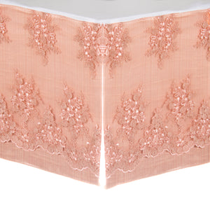 "Remember My Love  Crib Skirt Pink Sateen embroidery overlay (21"" Drop)"