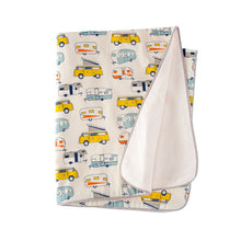 Load image into Gallery viewer, HAPPY CAMPER 3PC SET (INCLUDES QUILT, SHEET, CRIB SKIRT) - Shop Baby Slings & wraps, Baby Bedding & Home Decor !