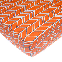 Load image into Gallery viewer, Happy Camper Fitted Sheet (Orange Print) - Shop Baby Slings & wraps, Baby Bedding & Home Decor !
