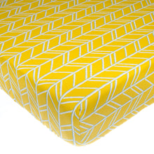 Load image into Gallery viewer, Happy Camper Fitted Sheet (Yellow Print) - Shop Baby Slings & wraps, Baby Bedding & Home Decor !