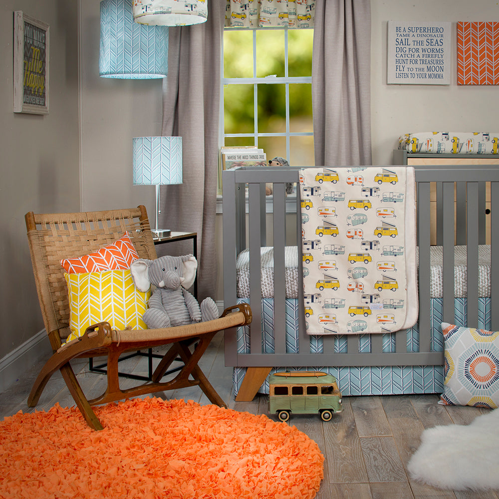 HAPPY CAMPER 4PC SET (INCLUDES QUILT, BUMPER, SHEET, CRIB SKIRT) - Shop Baby Slings & wraps, Baby Bedding & Home Decor !