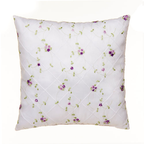 Sweet Pea Pillow - Emb Overlay face/Purple gingham back - Shop Baby Slings & wraps, Baby Bedding & Home Decor !