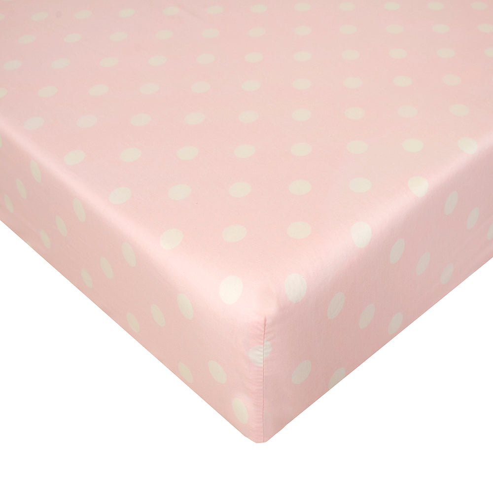 Charlotte Fitted Sheet (Pink Dot) - Shop Baby Slings & wraps, Baby Bedding & Home Decor !