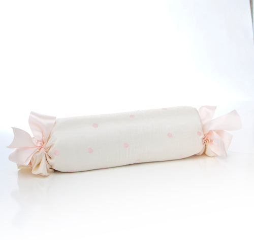 Charlotte Roll Pillow - Pink Dot Embroidery - Shop Baby Slings & wraps, Baby Bedding & Home Decor !