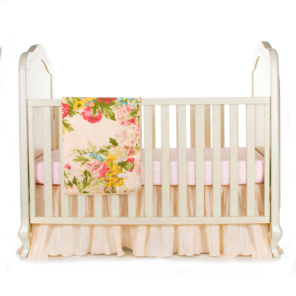 CHARLOTTE 3PC SET (INCLUDES QUILT, PINK DOT SHEET, CRIB SKIRT) - Shop Baby Slings & wraps, Baby Bedding & Home Decor !