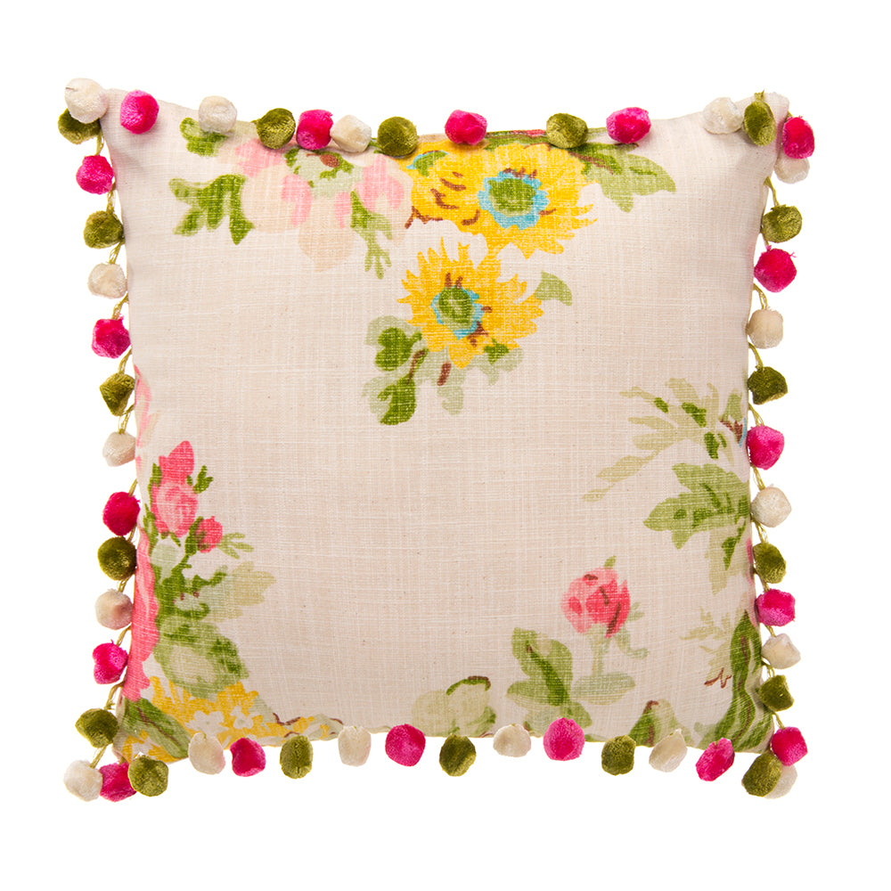 Charlotte Pillow - Floral with Pom Poms - Shop Baby Slings & wraps, Baby Bedding & Home Decor !