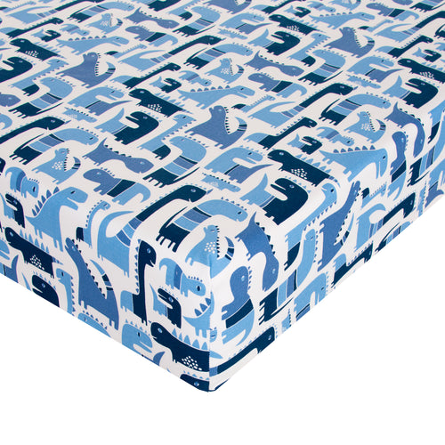 Dino Blue Fitted Sheet - Shop Baby Slings & wraps, Baby Bedding & Home Decor !