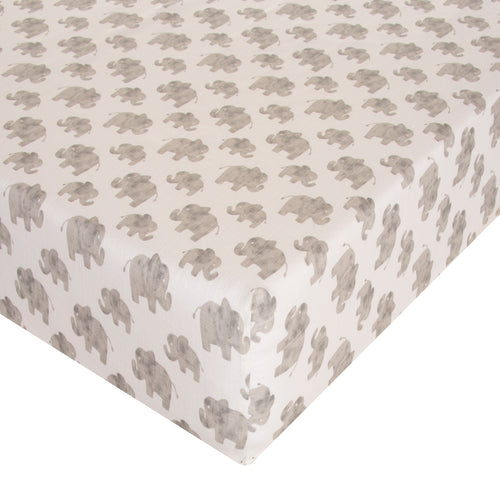 Elephant Herd - Natural Fitted Sheet - Shop Baby Slings & wraps, Baby Bedding & Home Decor !