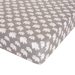 Elephant Herd - Stone Fitted Sheet - Shop Baby Slings & wraps, Baby Bedding & Home Decor !