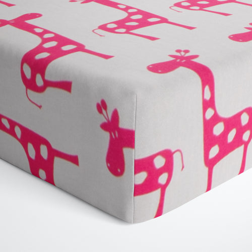 Glenna Jean Pink Giraffe Fitted Crib Sheet