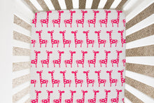 Load image into Gallery viewer, Glenna Jean Pink Giraffe Fitted Crib Sheet