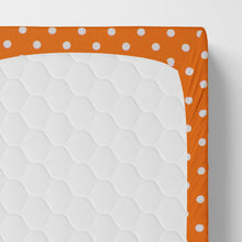 Load image into Gallery viewer, Glenna Jean Orange Dot Fitted Crib Sheet