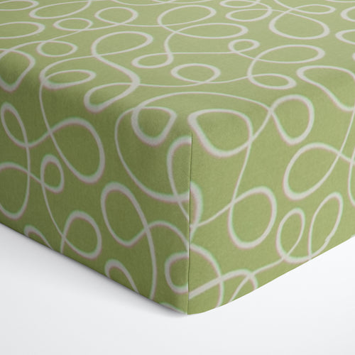 Glenna Jean Finley Green Swirl Fitted Crib Sheet