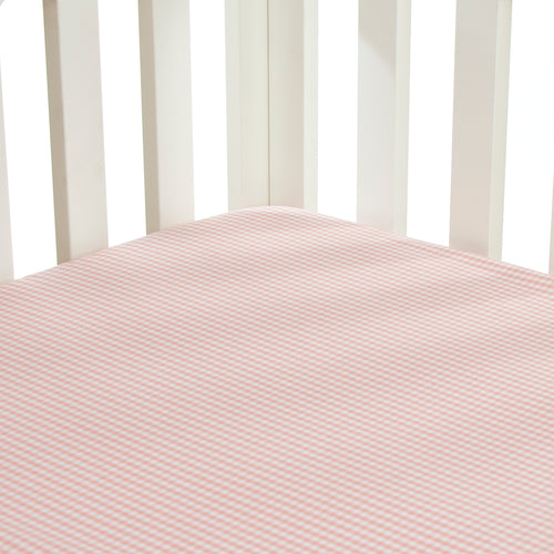 Isabella Fitted Sheet (Pink Gingham) - Shop Baby Slings & wraps, Baby Bedding & Home Decor !