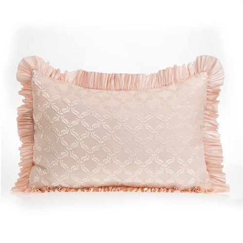 Paris Small Sham (Pink with Velvet Cutout Overlay & Ruffle)