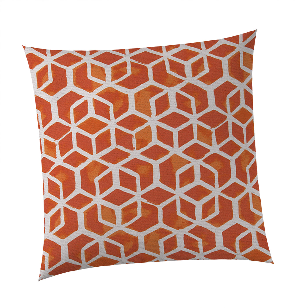 Cubed - Orange Square Pillow 28