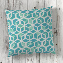 "Load image into Gallery viewer, Cubed - Teal Square Pillow 28"" x 28"" - Shop Baby Slings & wraps, Baby Bedding & Home Decor !"