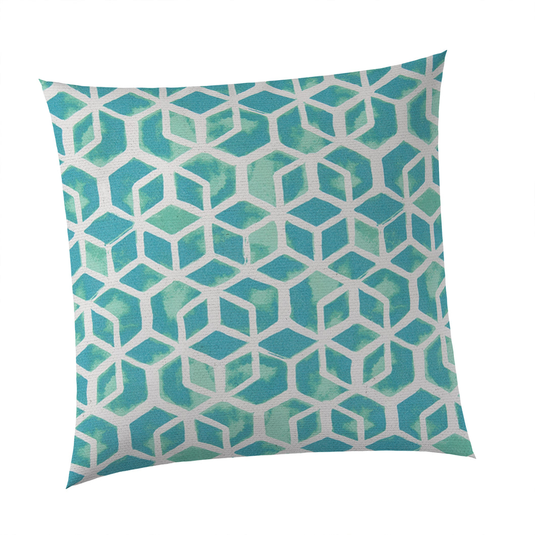 Cubed - Teal Square Pillow 28