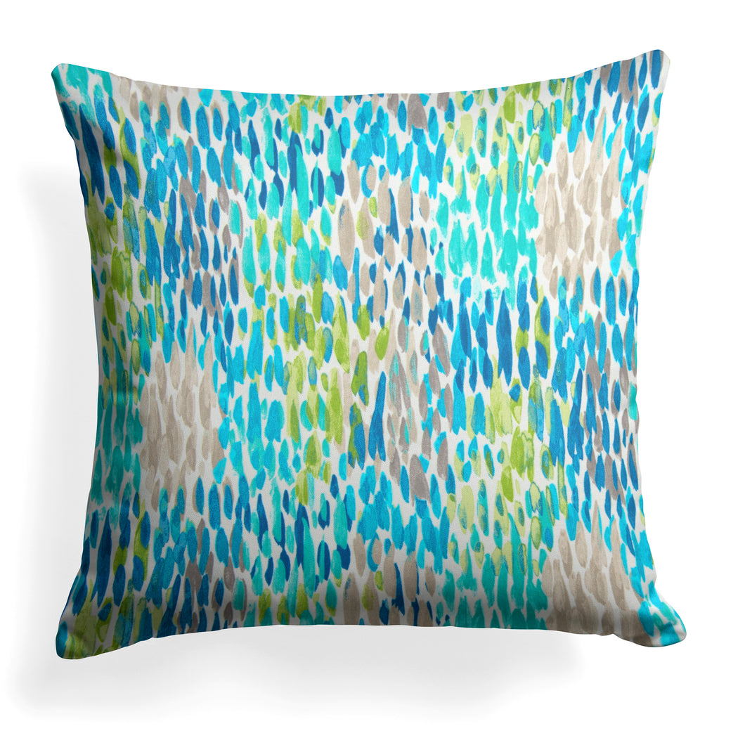 Peacock Feathers - Blue Square Pillow 28