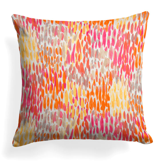 Peacock Feather - Orange Square Pillow 25