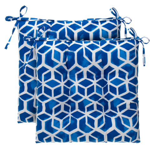 Cubed - Blue Tufted Seat Cushion 2 Pk (Tftd-ties) 19