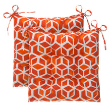 "Load image into Gallery viewer, Cubed - Orange Tufted Seat Cushion 2 Pk (Tftd-ties) 19""x18.5""x5"" - Shop Baby Slings & wraps, Baby Bedding & Home Decor !"