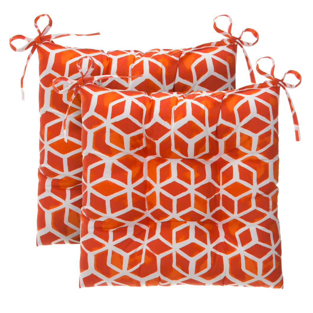 Cubed - Orange Tufted Seat Cushion 2 Pk (Tftd-ties) 19