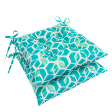"Load image into Gallery viewer, Cubed - Teal Tufted Seat Cushion 2 Pk (Tftd-ties) 19""x18.5""x5"" - Shop Baby Slings & wraps, Baby Bedding & Home Decor !"