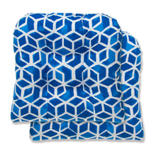 "Load image into Gallery viewer, Cubed - Blue Wicker Chair Cushion Pack of 2 19""x19""x5"""