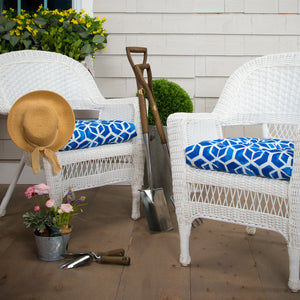 "Cubed - Blue Wicker Chair Cushion Pack of 2 19""x19""x5"""