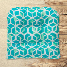 "Load image into Gallery viewer, Cubed - Teal Wicker Chair Cushion Pack of 2 19""x19""x5"""