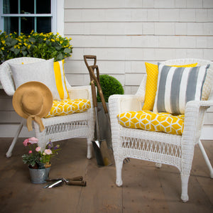 "Cubed - Yellow Wicker Chair Cushion Pack of 2 19""x19""x5"""