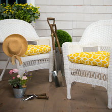 "Load image into Gallery viewer, Cubed - Yellow Wicker Chair Cushion Pack of 2 19""x19""x5"""
