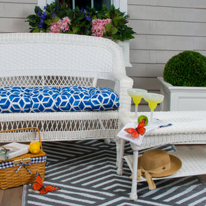 "Cubed - Blue Wicker Loveseat Cushion 44""x19""x5"" - Shop Baby Slings & wraps, Baby Bedding & Home Decor !"