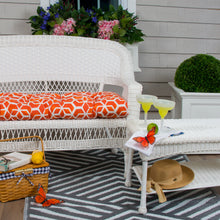 "Load image into Gallery viewer, Cubed - Orange Wicker Loveseat Cushion 44""x19""x5"" - Shop Baby Slings & wraps, Baby Bedding & Home Decor !"