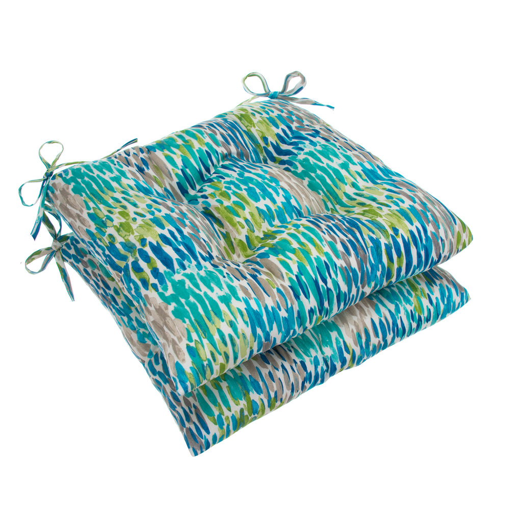 "Peacock Feathers - Blue Tufted Seat Cushion 2 Pk (Tftd-ties) 19""x18.5""x5"" - Shop Baby Slings & wraps, Baby Bedding & Home Decor !"