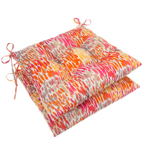 "Peacock Feather - Orange Tufted Seat Cushion 2 Pk (Tftd-ties) 19""x18.5""x5"" - Shop Baby Slings & wraps, Baby Bedding & Home Decor !"