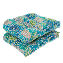 Load image into Gallery viewer, Peacock Feathers - Blue Wicker Seat Cushion 2 Pack 19 x 19 x 5