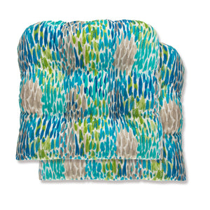 Peacock Feathers - Blue Wicker Seat Cushion 2 Pack 19 x 19 x 5