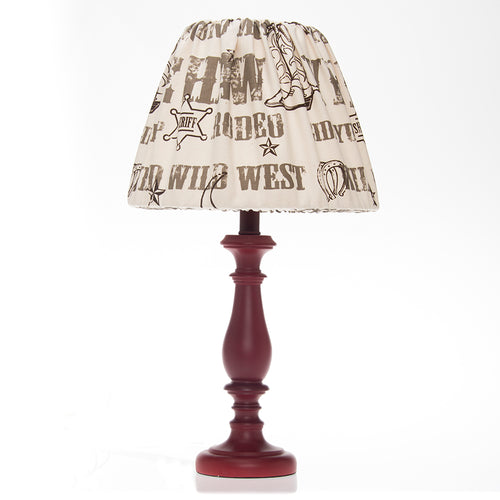Carson Red Lamp Base with Cowboy Print Shade (12x12x24