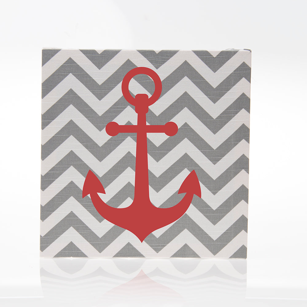 Grey Chevron with Anchor Wall Art - Shop Baby Slings & wraps, Baby Bedding & Home Decor !