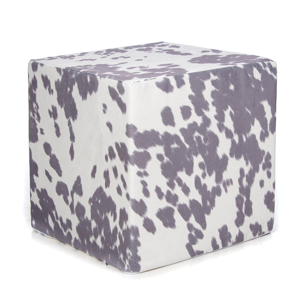 Twiggy Grey&White Faux Cowhide  Pouf - Shop Baby Slings & wraps, Baby Bedding & Home Decor !