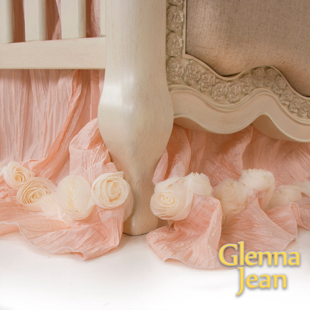 Lil Princess Mini Crib Dust Ruffle Mini Crib Skirt by Glenna Jean | Baby Girl Nursery + Hand Crafted with Premium Quality Fabrics - Shop Baby Slings & wraps, Baby Bedding & Home Decor !