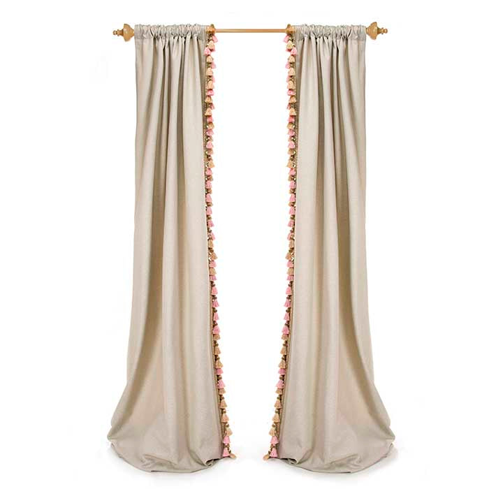 "Hannah Drapery Panels (Grey with Tassel) (Set of 2) (Approx. 90x40"") Lined - Shop Baby Slings & wraps, Baby Bedding & Home Decor !"